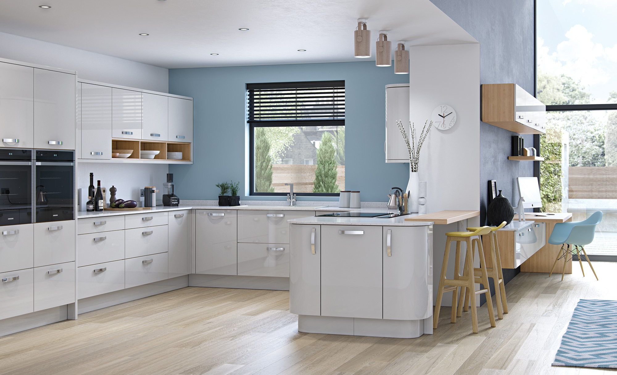 Modern Contemporary Zola Gloss Light Grey Kitchen Hero A